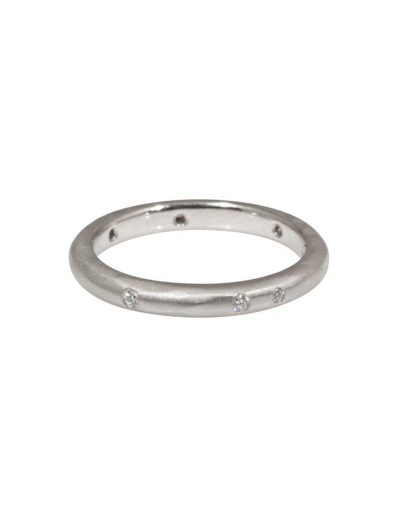 2.5mm Modeled Band with White Diamonds in Platinum