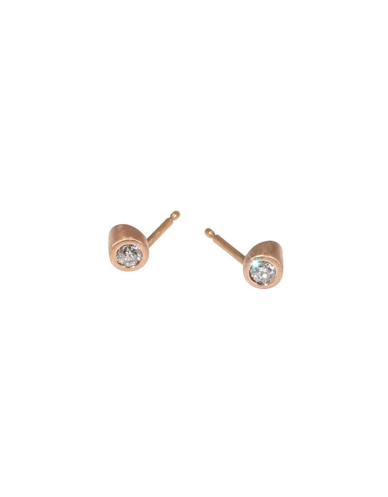 Angled Tube & White Diamond Post Earrings in 14k Rose Gold
