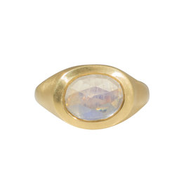 Open Back Moonstone Ring in 18k Gold
