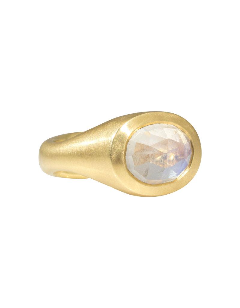 Open Back Moonstone Ring in 18k Gold