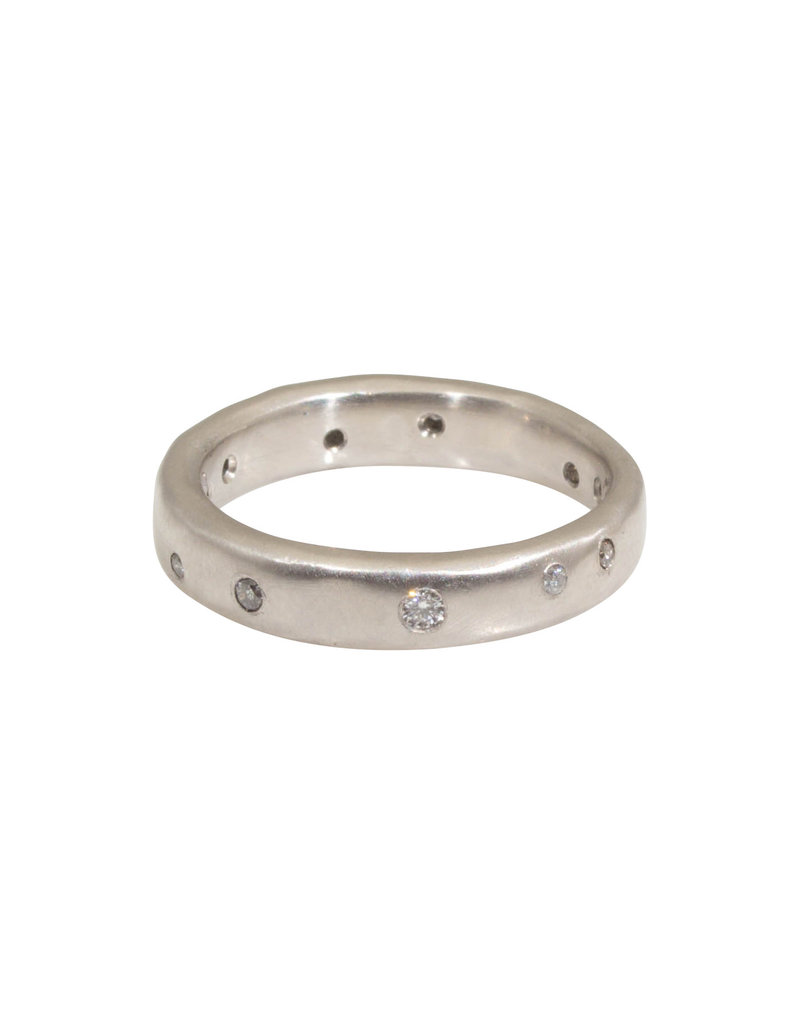 4mm Modeled Band in Palladium with Grey Diamonds