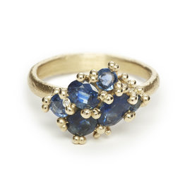 Blue Sapphire Cluster Ring in 14k Gold