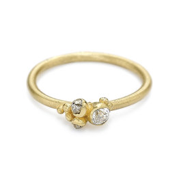 Brilliant and Raw Diamond Cluster Ring in 18k Yellow Gold