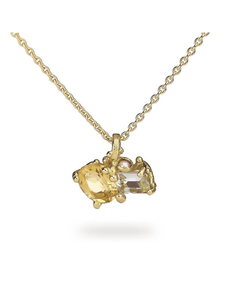 Citrine and Aquamarine Pendant in 18k Gold