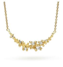 Diamond Granules Bar Necklace in 18k Gold