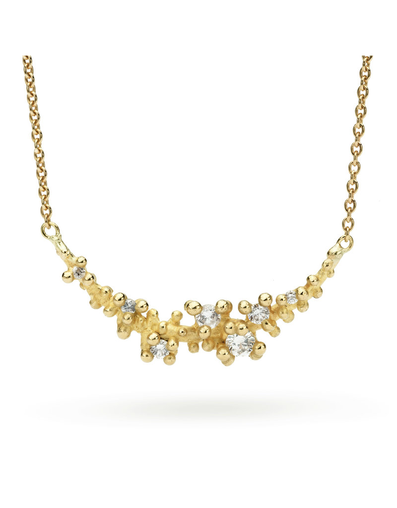 Diamond Granules Bar Necklace in 18k Gold