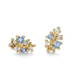 Sapphire Cluster Post Earrrings