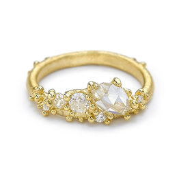 Rose Cut White Diamond Asymmetrical Ring in 18k Gold