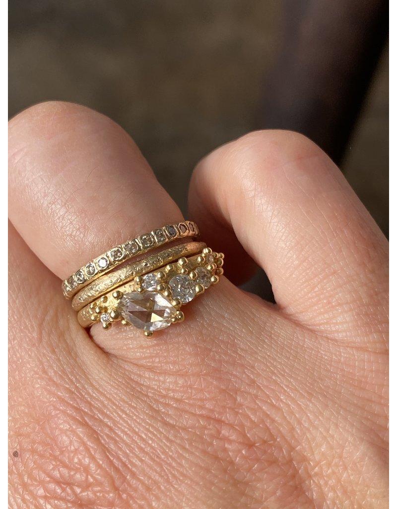 Rose Cut White Diamond Asymmetrical Ring in 18k Gold