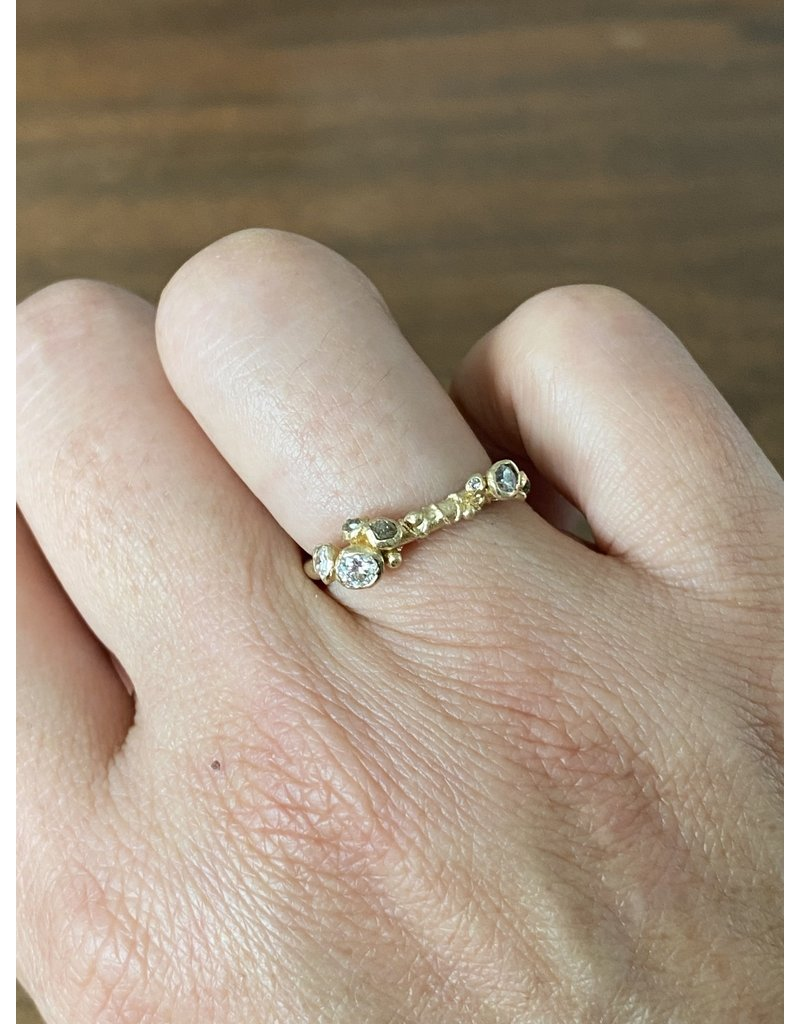 Asymmetric Diamond Ring in 14k Gold with White and Grey Diamonds