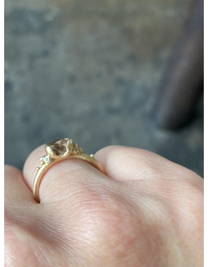 Raw Champagne Diamond Crystal Ring in 14k Gold