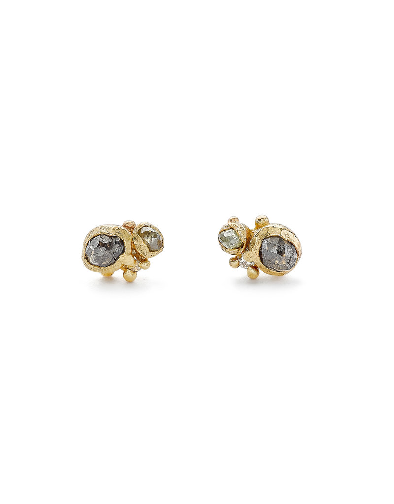 Champagne Diamond Post Earrings in 14k Gold