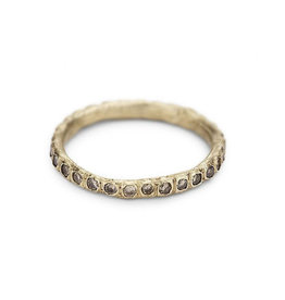 Champagne Diamond Eternity Band in 14k Yellow Gold