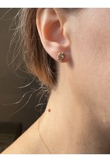 Champagne Diamond Crystal Post Earrings in 14k Yellow gold
