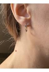 Sapphire Encrusted Hoop Earrings in 14k Gold