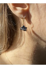 Blue Sapphire Cluster Drops in 14k Gold