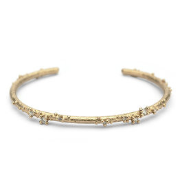 Narrow Encrusted White Diamond Cuff in 14k Gold