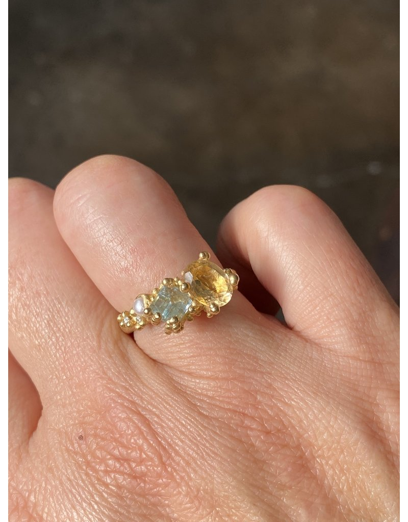 Citrine and Aquamarine Asymmetrical Ring in18k Yellow Gold