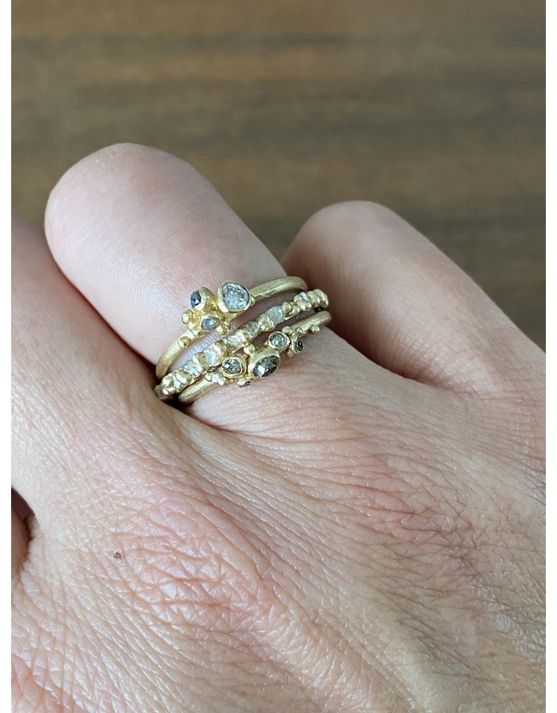 Brown Diamond Cluster Band in 14k Yellow Gold