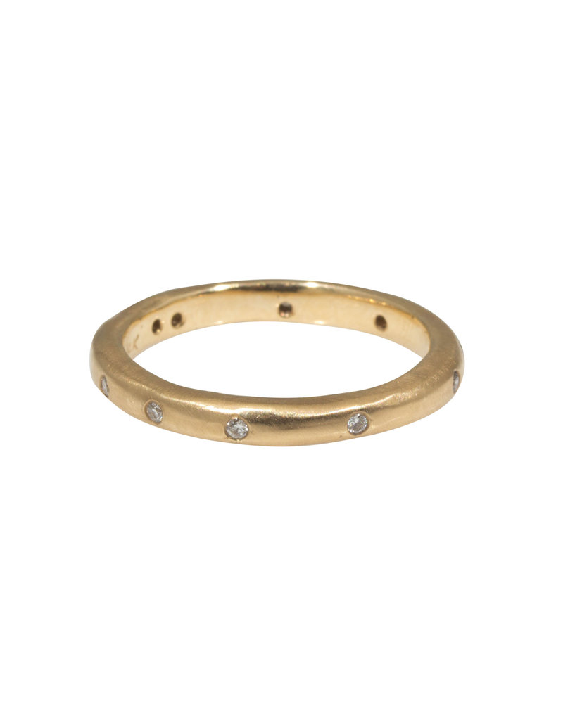 2.5mm Modeled Band 14k Yellow Gold with White Diamonds