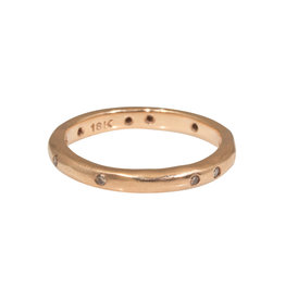 2.5mm Modeled Band  with Cognac Diamonds in 18k Rose Gold
