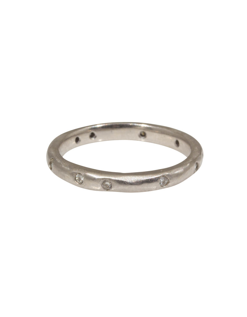 2.5mm Modeled Band with White Diamonds in 14k X-1 White Gold