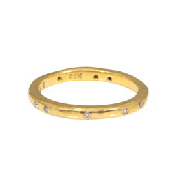2.5mm Modeled Band with White Diamonds in 22k Yellow Gold