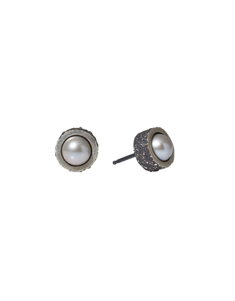 Grey Pearl Post Earrings with Sand Texture in Oxidized Silver