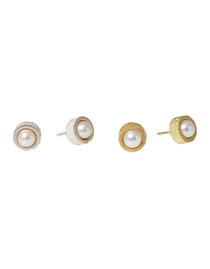 White Pearl Post Earrings with Sand Texture in Silver