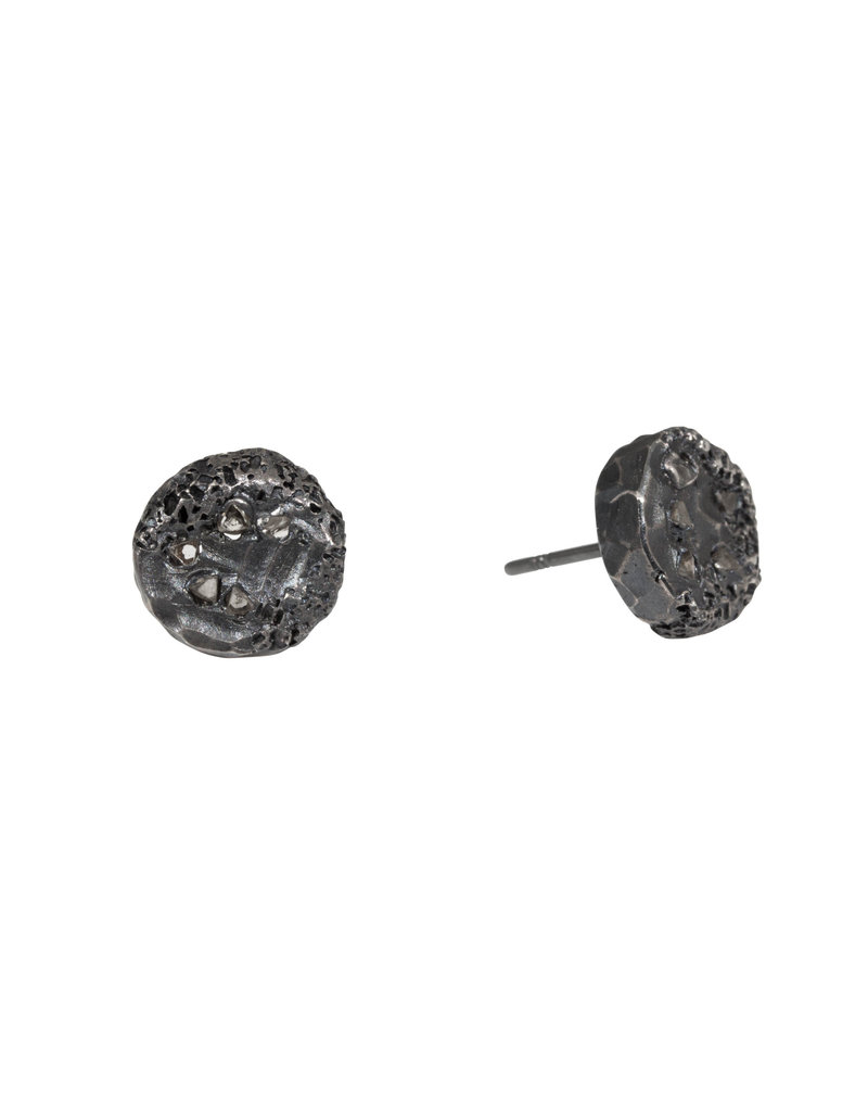 Medium Topography Post Earrings with Diamond Mackles in Oxidized Silver