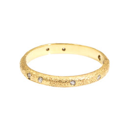 2.25 mm Diamond Band with Sand Texture in 18k Yellow Gold