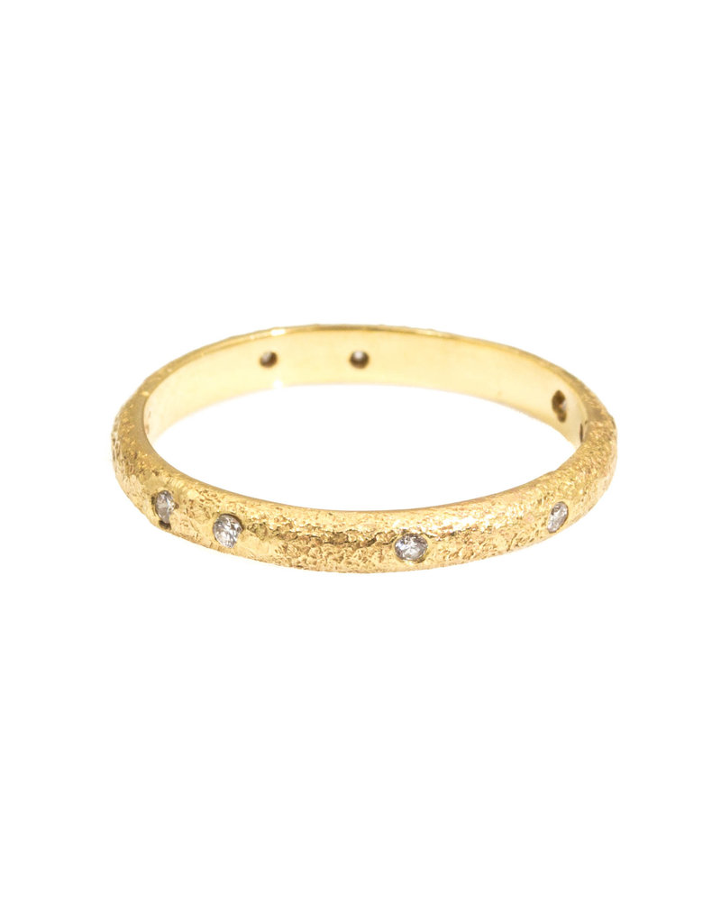 2.25 mm Diamond Band with Sand Texture in 18k