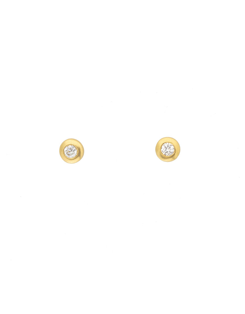 Small Round Brilliant Diamond Post Earrings in 18k Yellow Gold