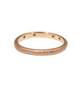 2.25 mm Diamond Band with Sand Texture Texture 14k Rose