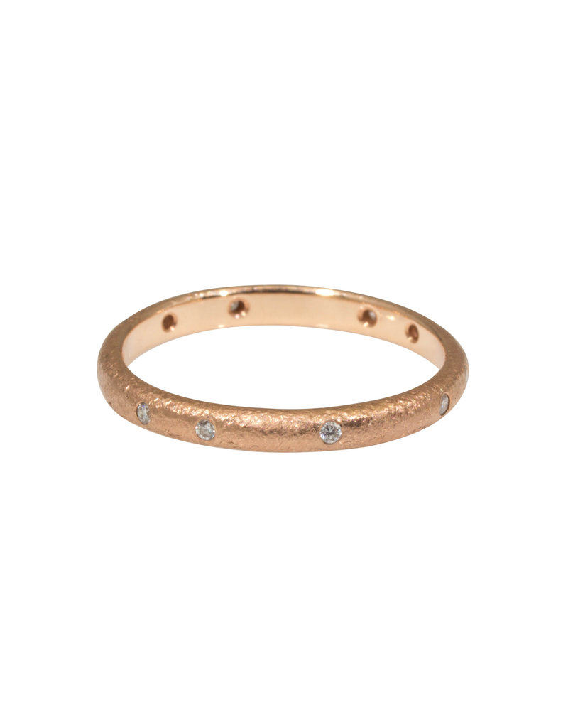 2.25 mm Diamond Band with Sand Texture in 14k Rose