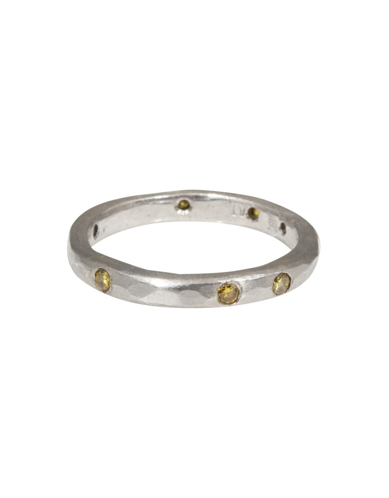 2.5mm Hammered Texture Band with Yellow Diamonds in Platinum