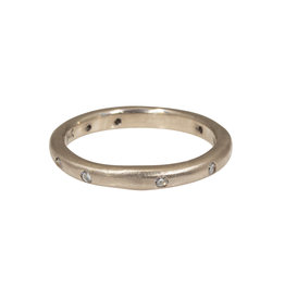 2.5mm Modeled Band in 14k Palladium White Gold with Diamonds