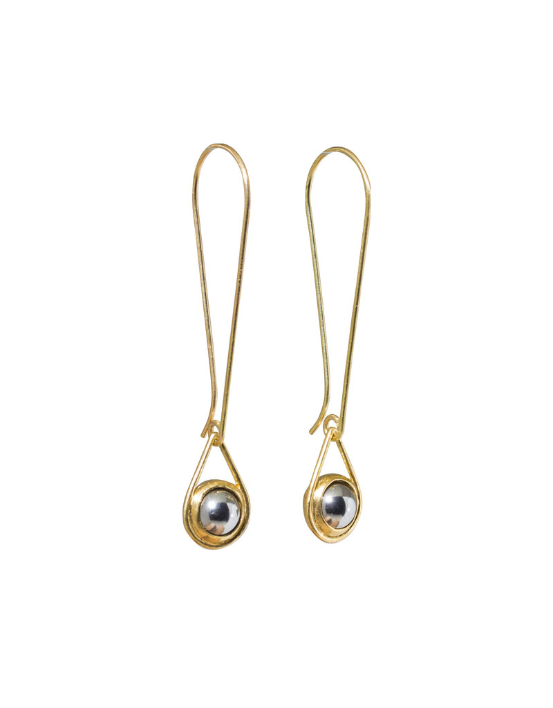 Small Ball Bearing Drop Earrings in 18k Yellow Gold