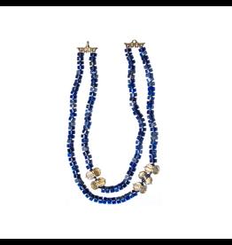 Sweet Pittosporum Bead Necklace with Lapis Lazuli in Yellow Bronze