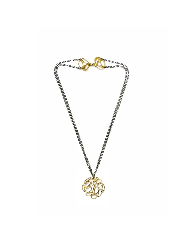 Banksia Medallion Necklace in Brass
