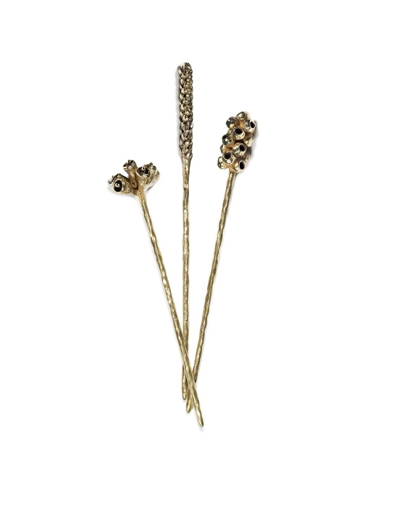 Bell Pod Hair Stick in Brass