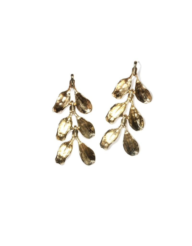 Three-Tiered Dyad Earrings in Yellow Bronze