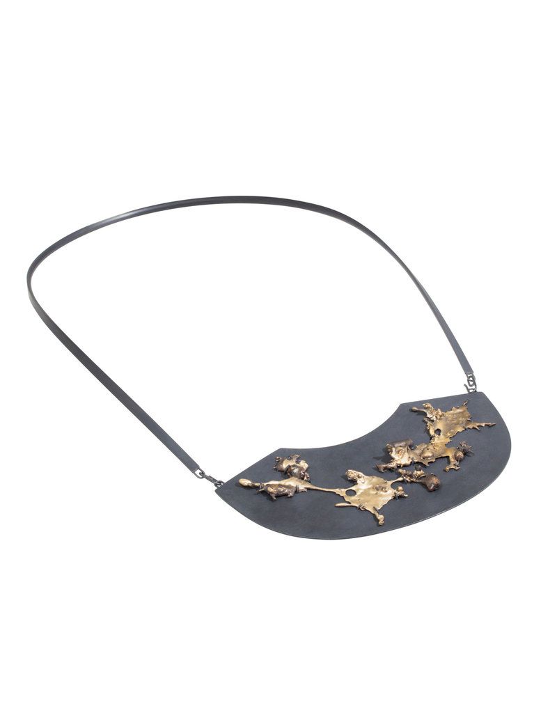Bronze Spill Necklace in Oxidized Silver