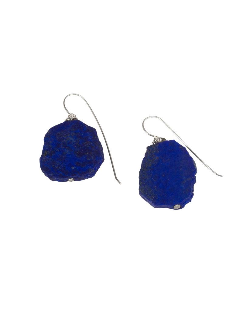 Lapis Lazuli Slab Earrings in Silver