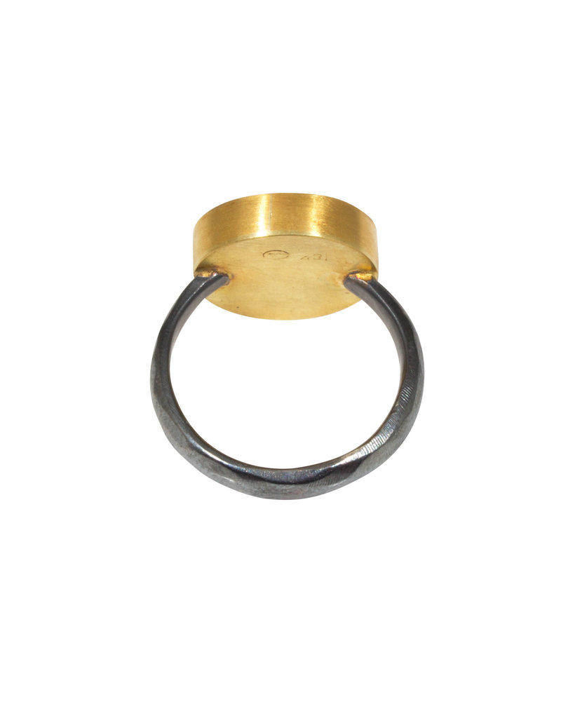 Circle Ring  with Lapis Lazuli in  22k Gold and Oxidized Silver
