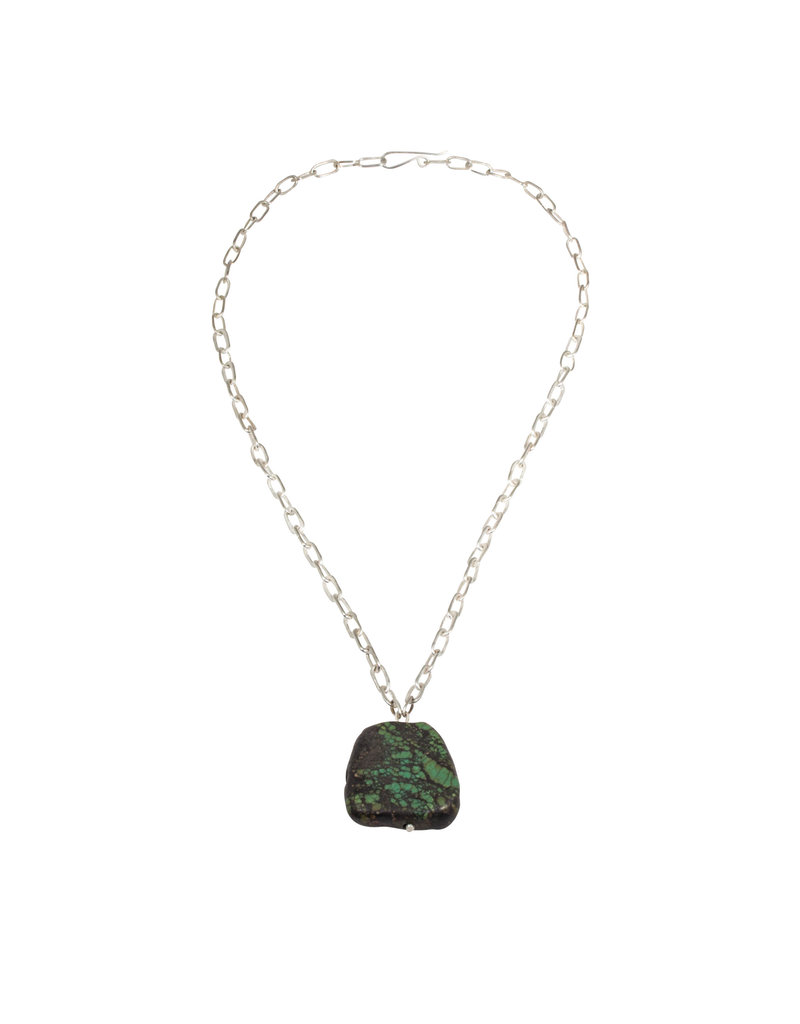 Ancient Tibetan Turquoise Pendant with Handmade Silver Chain