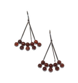 Carnelian Bead Earrings in Oxidized Silver