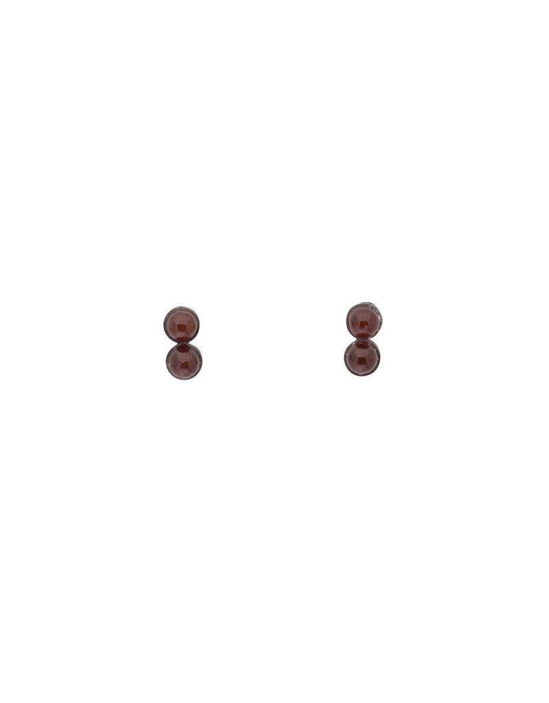 Small Carnelian Bead Earrings in Oxidized Silver