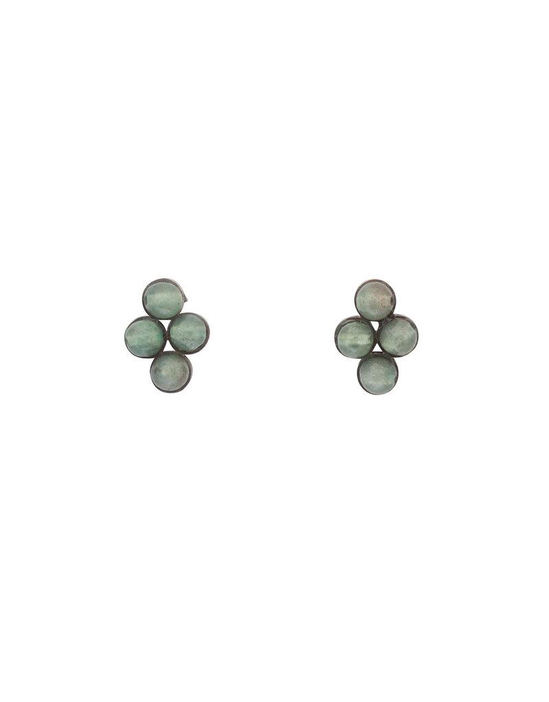 Light Green Jade Bead Earrings in Oxidized Silver