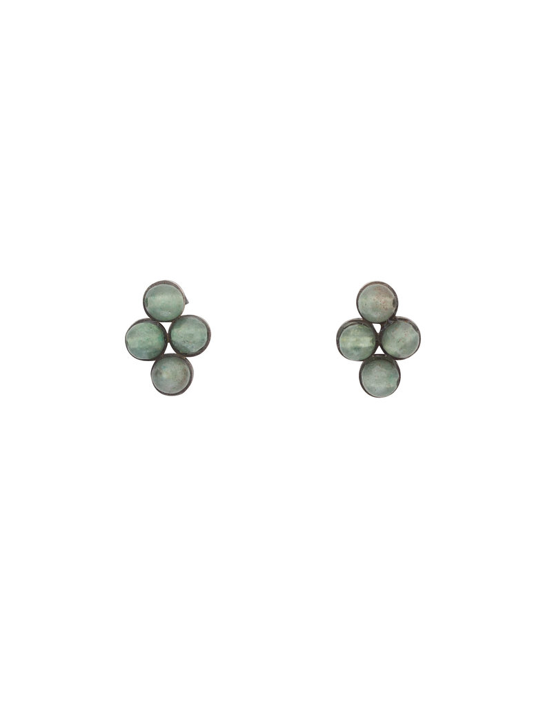 Light Green Jade Post Earrings in Oxidized Silver